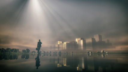 Lost business man standing at lake with skyline in the mist. Low