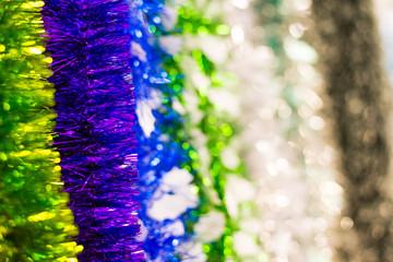 Colored Christmas tinsel