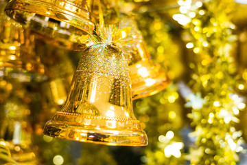 Jingle bells on a gold background