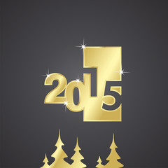 2015 gold 3d plate black background vector