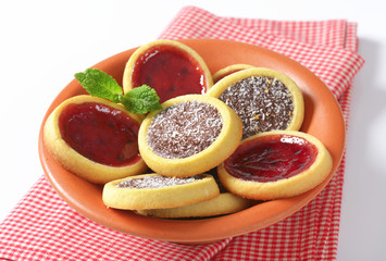 Jam  and chocolate filled tartlets