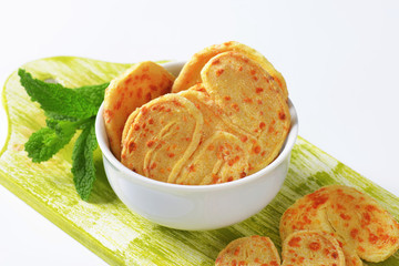Heart-shaped cheese biscuits