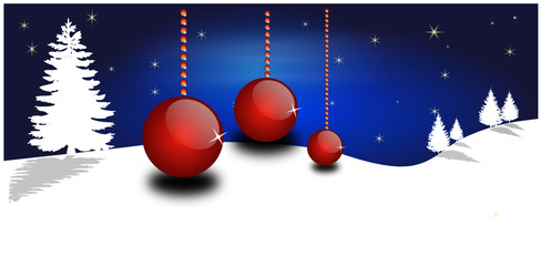 Weihnachtskugeln vor Blauem Hintergrund