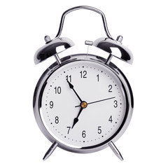 Five minutes to seven on a round alarm clock