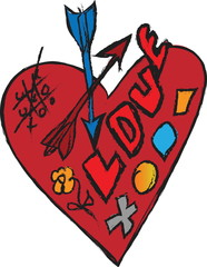 doodle concept of love, red heart