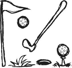 doodle golf collection golf, golf clubs, balls, holes