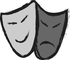 Doodle  comedy and tragedy theater masks