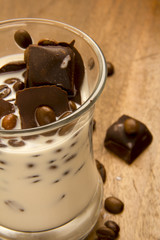 Milk with Chocolate and Coffee Beans
