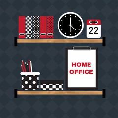 Flat vector illustration of hipster home office workplace.