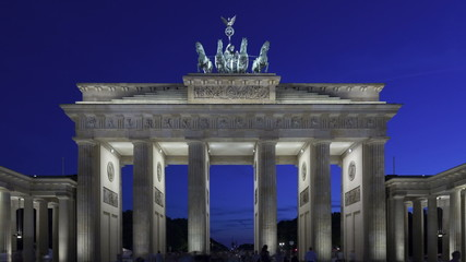 Time lapse zoom out Brandenburg Gate at sunset, Berlin