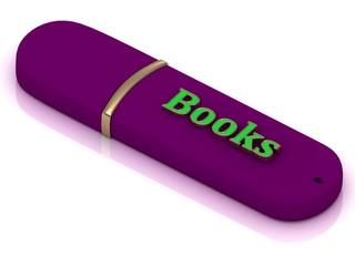 Books - inscription on lilac USB flash drive