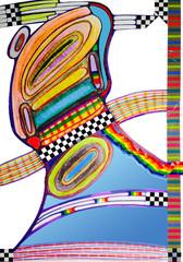 Profile of a colorful, fashionable cartoon alien