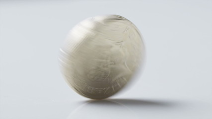 UK One pound coin spinning in slow motion