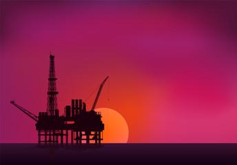 Illustration of oil platform on sea and sunset in background. Ve