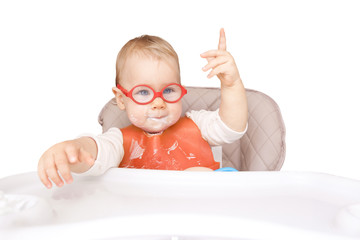 little kid with glasses