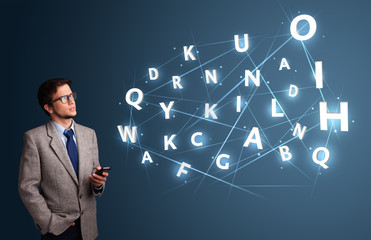 Young man typing on smartphone with high tech 3d letters comming