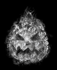 terrible halloween pumpkin in the smoke