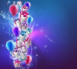Abstract gifts and balloons background