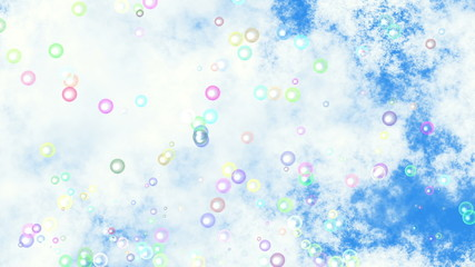 motion of many lifting transparent air bubbles on blue sky