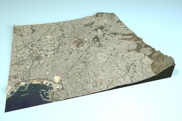 Atene vista satellitare, mappa sezione 3d