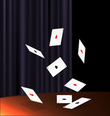 table and flying cards