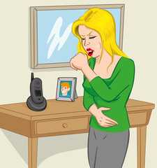 Person woman blonde with cough