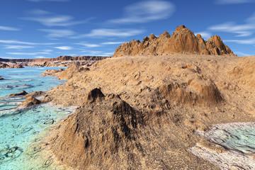 3D rendered fantasy alien planet. Rocks
