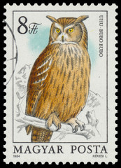 Stamp shows image of an Eagle-owl