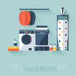 Laundry room with washing machine and dryer. Flat style - 73616215