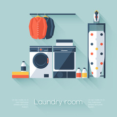 Laundry room with washing machine and dryer. Flat style