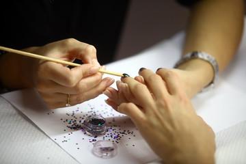 Applying nail paint