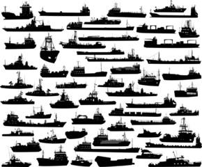 Vector set of 56 silhouettes of sea towboat and the ships