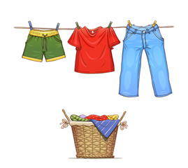 Clothes on rope and basket with wear. Eps10 vector