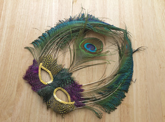 Mardi Gras Feather Mask Dusty On Table Discarded