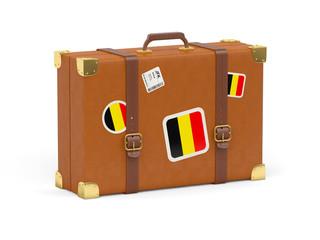 Suitcase with flag of belgium