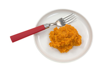 Sweet potatoes on plate with fork