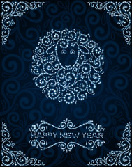 New Year card with abstract sheep