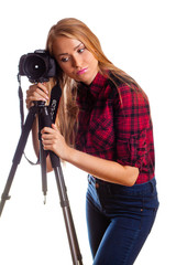 Female photographer tired doing photos  - isolated over white