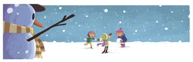 niños jugando con la nieve