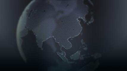 Digital world globe seamless loop. 3D animation full HD