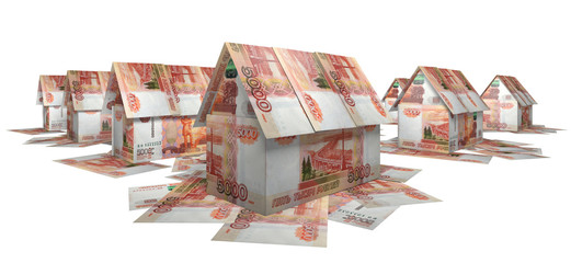 The village of the small houses, built of banknotes 5 000 rubles