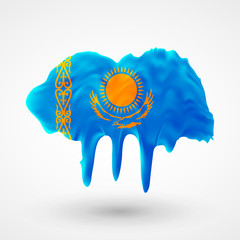 Flag of Kazakhstan painted colors