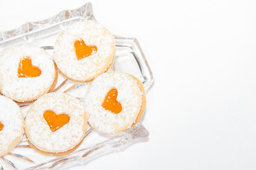 Christmas Cookie With Apricot Marmelade Heart