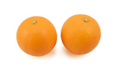 Two whole ripe oranges