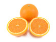 Whole orange and two juicy cut halves