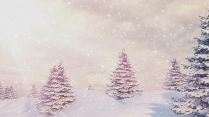 Winter landscape falling snow. Seamless loop