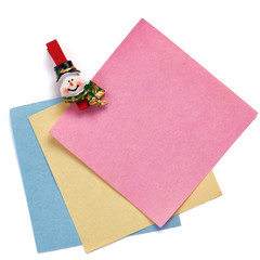 Christmas snowman clothespin holding note paper