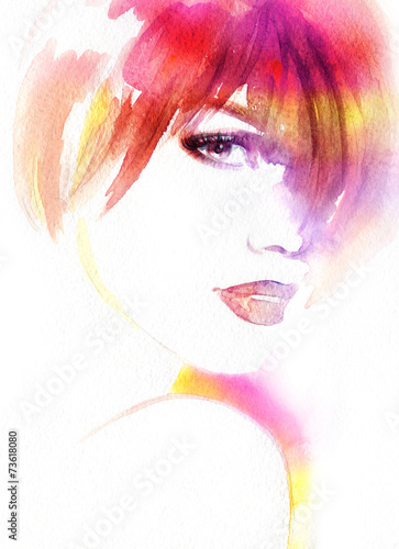 Fototapeta Beautiful woman. watercolor illustration