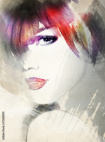 woman portrait  .abstract  watercolor .fashion background - 73618095