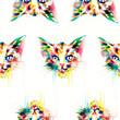 Cat. animal .seamless texture .watercolor illustration
